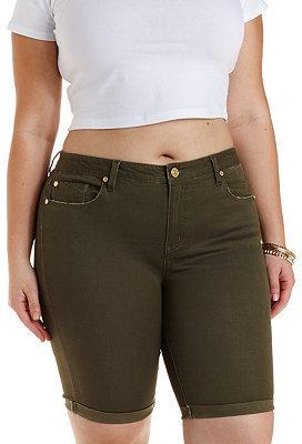 301f35b91d Charlotte Russe Plus Size Refuge Bermuda Colored Denim Shorts, $29 ...