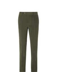 Brunello Cucinelli Dark Sage Slim Fit Cotton And Cashmere Blend Suit Trousers