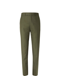 Kingsman Green Slim Fit Cotton Twill Suit Trousers