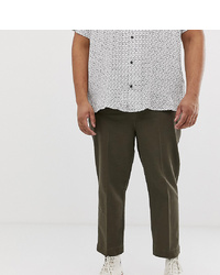 ASOS DESIGN Plus Relaxed Trousers With Front Crease In Khaki