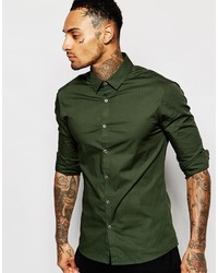 Dark green shirt for men images for Olive green oxford shirt