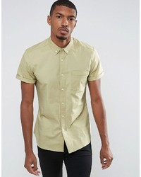 Asos Casual Slim Oxford Shirt With Stretch In Sage