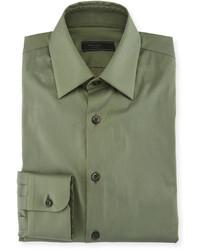 Prada Cotton Blend Solid Dress Shirt