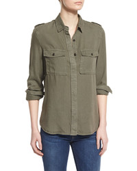Denim military long sleeve shirt military green medium 448720