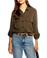 Topshop Double Pocket Utility Shirt