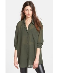 Glamorous Long Sleeve Button Front Blouse