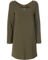 Moschino Boutique Buttoned Sleeve V Neck Dress