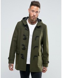 Asos Wool Mix Duffle Coat In Khaki