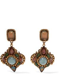 Erickson Beamon Hunky Dory Gold Plated Crystal Earrings Green
