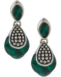 Lagos Maya Silver Malachite Double Drop Earrings