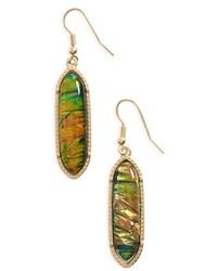 Stone Oval Drop Earrings