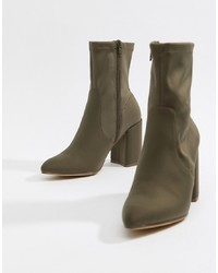 ASOS DESIGN Emotion Sock Boots In Khaki