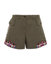 Valentino Embellished Cotton Twill Shorts