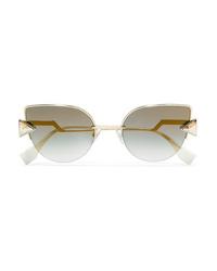 Fendi Embellished Cat Eye Gold Tone Mirrored Sunglasses