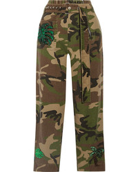 Embellished camouflage print cotton twill tapered pants green medium 1191322