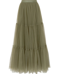 Brunello Cucinelli Tiered Bead Embellished Tulle Skirt