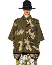 Antonio Marras Floral Embroidered Cotton Parka
