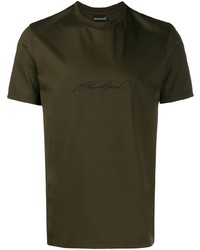 Emporio Armani Signature Logo Embroidered T Shirt