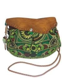 Olive Embroidered Crossbody Bag