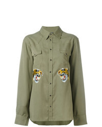 Olive Embroidered Long Sleeve Shirt