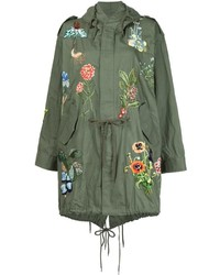 Olive Embroidered Parka