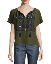 Tory Burch Camille Short Sleeve Embroidered Top Dark Olive Green