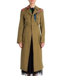 Valentino Tropical Dream Embroidered Cotton Trench Coat
