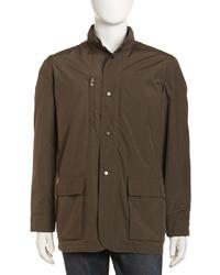Peter Millar Baldoria Hidden Hood Tech Jacket Olive