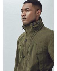 Mango Outlet Camo Print Hood Field Jacket