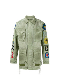Off-White Patch Embellished Field Jacket Green