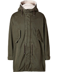 Neil Barrett Cotton Parka With Shearling In Old Military