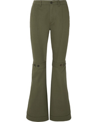 Loewe Button Detailed Cotton Twill Flared Pants