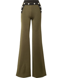 Balmain Button Embellished Two Tone Stretch Knit Flared Pants