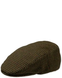 Charles Tyrwhitt Olive Check Flat Cap Wool Hat Size Medium By