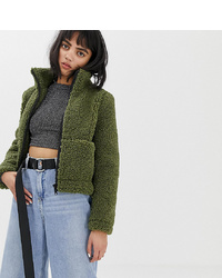 Olive Fleece Bomber Jacket
