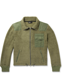 Olive Fleece Bomber Jacket