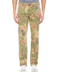Olive Floral Chinos