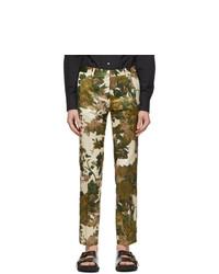 Dries Van Noten Khaki Floral Trousers