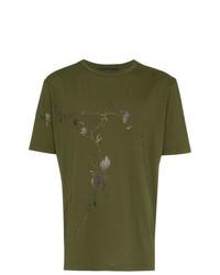 Haider Ackermann Khaki Floral Print Cotton T Shirt