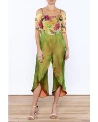 Dawn sunflower floral silk jumpsuit medium 4271464