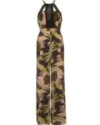 River Island Green Leaf Print Crochet Beach Jumpsuit