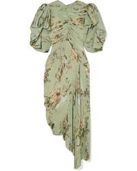 Preen by Thornton Bregazzi Draped Pleated Floral Print Tte Dress