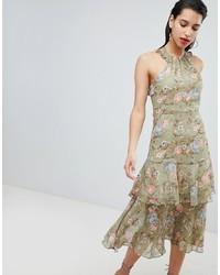 Vila Soft Floral Ruffle Halter Neck Midi Dress