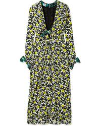 Proenza Schouler Tie Detailed Floral Print Tte Midi Dress