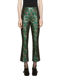 Prada Green Floral Jacquard Cropped Trousers