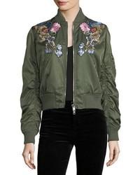 Alexander McQueen Floral Embroidered Satin Bomber Jacket