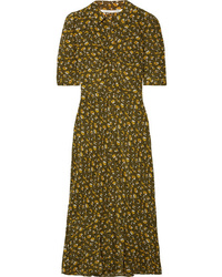 Veronica Beard Pike Floral Print Silk De Chine Midi Dress