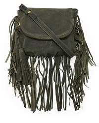Cynthia Vincent Autumn Leather Fringe Crossbody Bag Green
