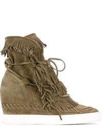 Casadei Fringed Hi Top Wedge Sneakers