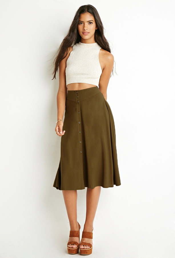 Forever 21 Button Front A Line Skirt | Where to buy & how to wear
